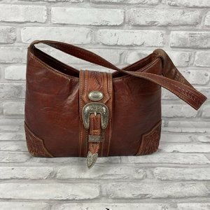 American West Leather Tooled Purse Silver Hardware